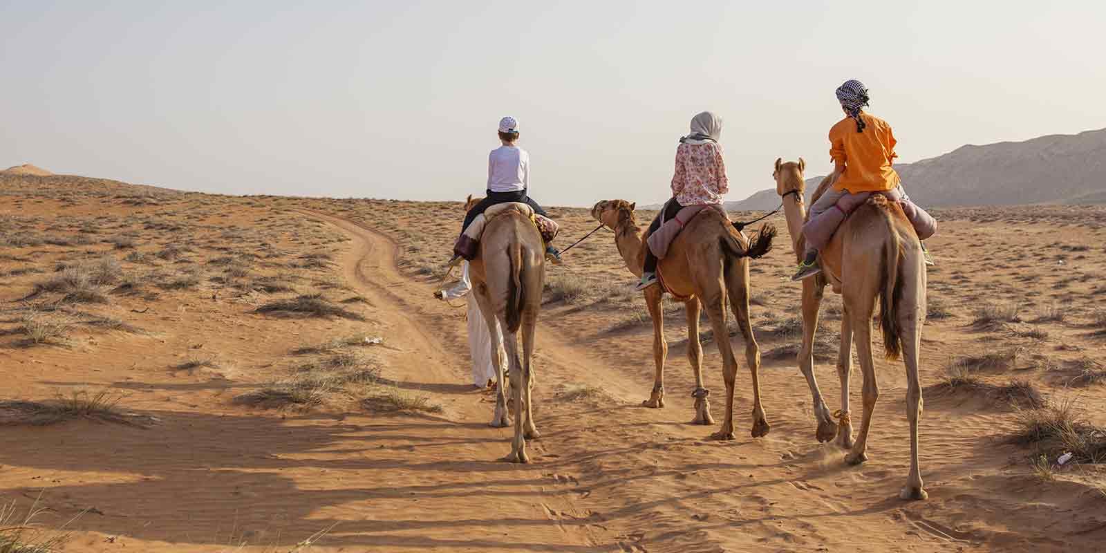 3 children on camels trekking through desert