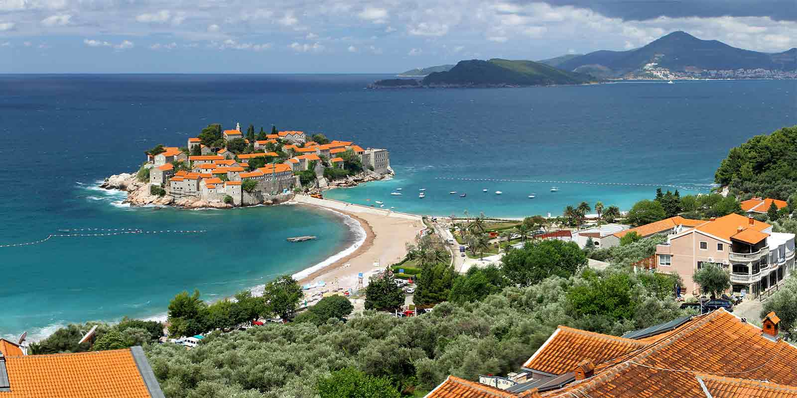 View of Sveti Stefan Island on the Adriatic Coast