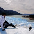 Young boy trekking on glacier in Patagonia, Argentin