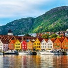 Colourful houses and yachts lining the harbour in Bergen, Norway