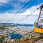 Cable car overlooking the city of Bergen, Norway
