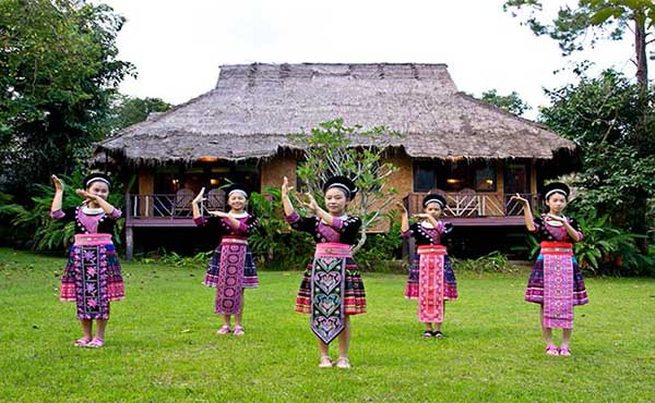 Ladies from Hmong tribe near Chiang Mai dancing