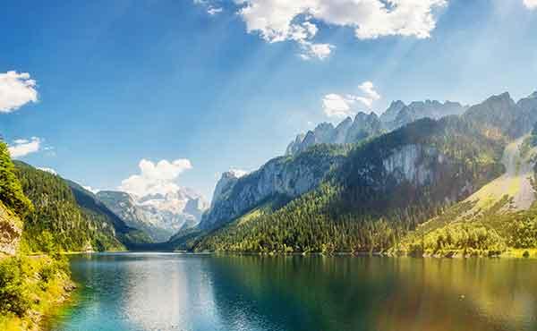 Picturesque lake in Salzkammergut area of Austria Alps